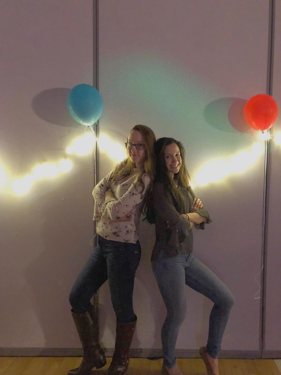 Newly elected co-presidents of the Executive Board, Eliza Grose and Helen Tejada, pose at the Spring Fling.